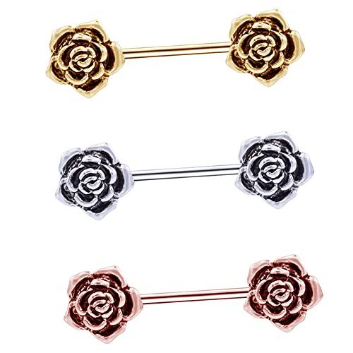 joyMerit Retro 3X Acero Inoxidable Rosa Flor Pezón Piercing Escudo Cuerpo Nipplerings