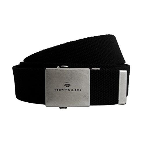 Unisex-Gürtel von Tom Tailor - leichter Damengürtel Herrengürtel Unisex-Belt aus stabilem Nylongewebe mit Metall Klemmverschluß (Schwarz) - präsentiert von ZMOKA®