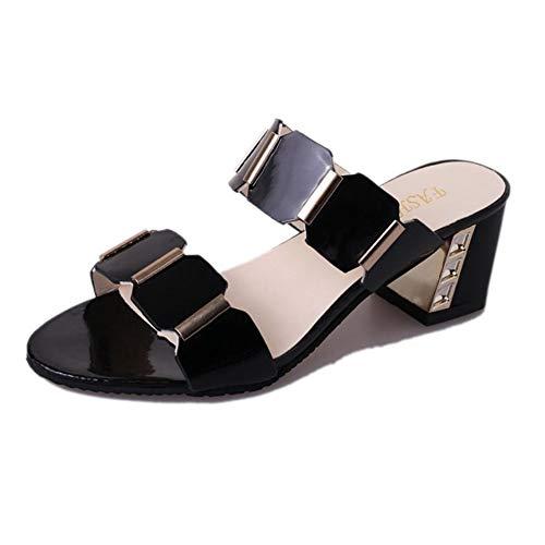 Frauen öffnen Zehe Block Ferse Schuhe öffnen zurück Party High Heels Fisch Mund lässig Kleid Schuhe Slip on Sandalen