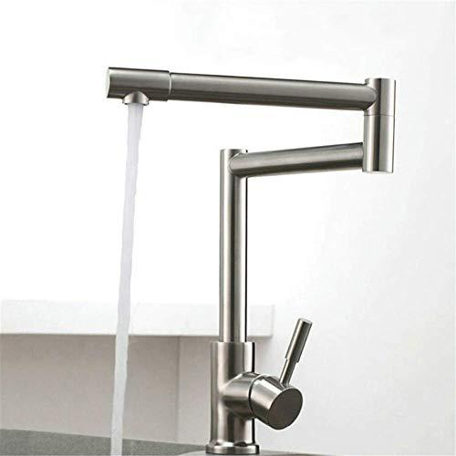 Grifos para Fregadero Grifos de Cocina de Acero Inoxidable Faucets giratorios de 360 Grados Cepillados Níquel Sola Manija Manguera