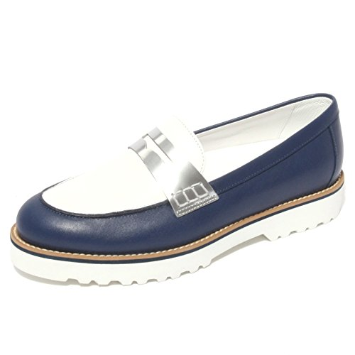 Hogan B0612 Mocassino Donna Route TRAVERSINA Blu/Bianco/Argento Shoe Woman [36.5]