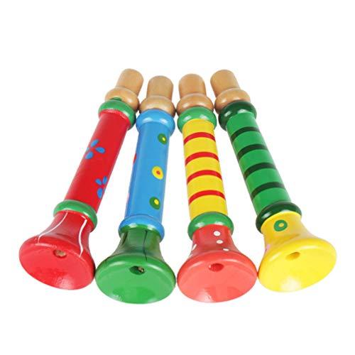 Toyvian 4 Stück Holz Trompete Cartoon Holz Trompete Spielzeug Kinder Party Krachmacher