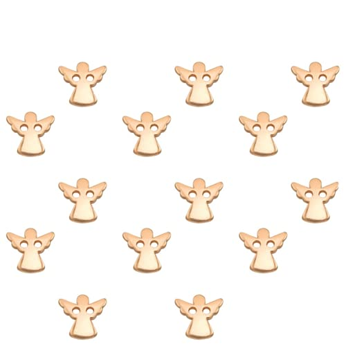 Sadingo Pulsera intermedia de oro rosa, 14 unidades de 11 mm, colgante de ángel, macramé, joyas, juego de manualidades