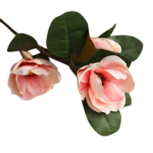 Coloré(TM) Fleurs Artificielles, Artificielle Faux Fleurs Feuille Magnolia Floral Bouquet De Mariage Party Home Decor (Rose)
