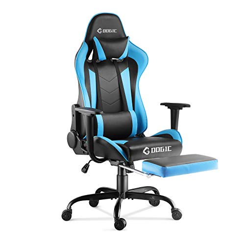 Gaming Chair Racing Style Office Computer Desk Chair Ergonomic High Back PU Leather E-Sports Chair with Footrest, Headrest and Lumbar Support, in Blue