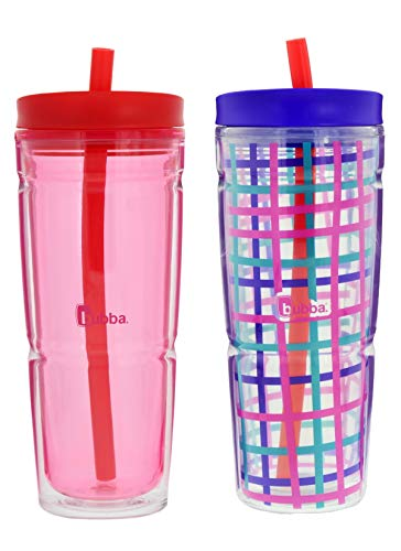 Bubba Envy Insulated Tumbler with Straw, 24oz- Coral and Teal Check