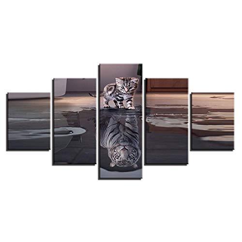 LHMTZ Cinque moduli, dipinti decorativi 200*100CM Quadro su tela Immagini Decorazioni per la casa Per soggiorno 5 Pezzi Gatti Tigri Dipinti Stampe mod