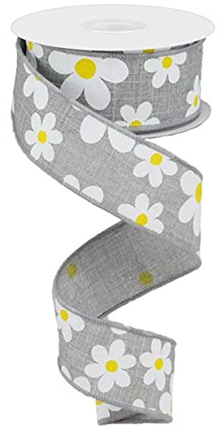 Daisy Flower Canvas Wired Edge Ribbon, 10 Yards (Light Grey, 1.5