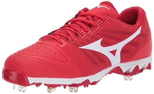 Mizuno Herren 9-Spike Ambition Low Metal Baseball Schuh, Herren, Baseballschuh, 9-Spike Ambition Low Mens Metal Baseball Cleat, Rot-Weiß (1000), 8.5