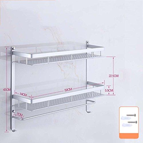 A salle de bain étagère Porte-serviettes espace aluminium salle de bains étagère deux étages installation perforée (40cm, 50cm, 60cm) (taille : 50 cm)