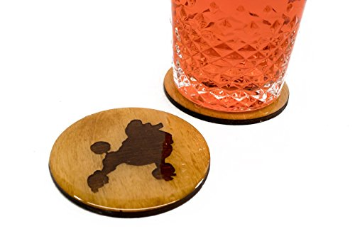 """Premium Poodle Coasters - 4 Fun Handmade Engraved 3.5"""" Round Wooden Natural Home Animal Decoration"""