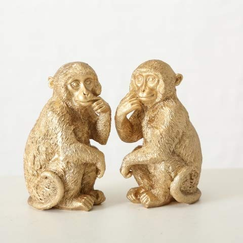 Home Collection AFFE 2er Set Sortiert Gold H11cm aus Kunstharz