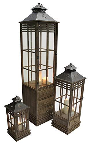 Dekoleidenschaft 3 XXL Laternen aus Holz, braun, 59 + 97 + 175 cm hoch, mit Metall-Dach, Gartenlaterne, Windlicht