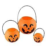 JoyRolly Halloween Kunststoff Süßigkeiten Kürbis Eimer Süßes oder Saures Süßigkeiten Topflappen Party Beutetasche Füllstoffe Dekoration für Bar Home Orange#4