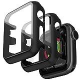Jvchengxi 2 Pezzi Custodia per Apple Watch 38mm Series 3 2 1 con Protezione Schermo, PC Cover + HD Pellicola Protettiva in Vetro Temperato 360° Antigraffio Copertura Paraurti Rigida per iWatch 38mm
