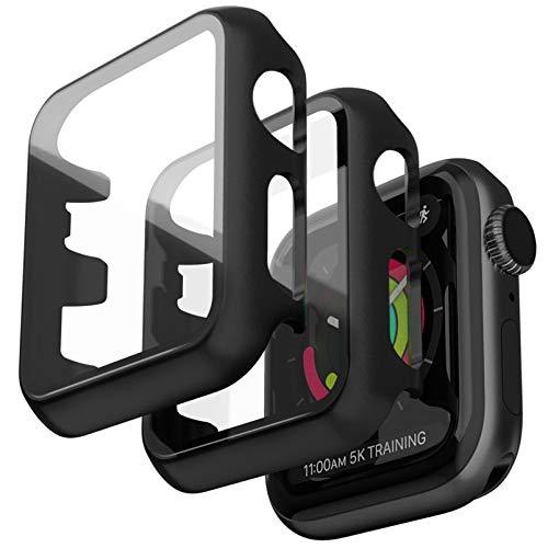 Jvchengxi 2PCS Pellicola Vetro Temperato Compatibile per Apple Watch 38mm Serie 3/2/1 Custodia, Nero HD Resistente Urti Custodia Rigida PC Pellicola Protettiva Schermo Sottile per iwatch Series 38mm