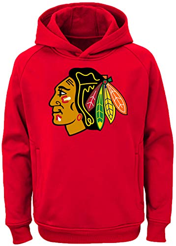 Outerstuff NHL Youth 8-20 Team Color Performance Primary Logo Pullover Sweatshirt Hoodie (X-Large 18/20, Chicago Blackhawks Red)