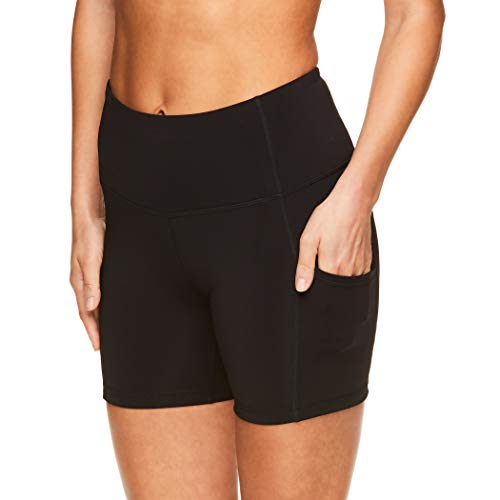 Reebok Women's Compression Running Shorts with Phone Pocket - High Waisted Performance Workout Short - 5 Inch Inseam - Black Foundation Pocket High Rise, Small