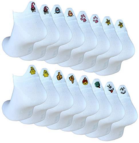 Cocain underwear 16 Paar Damen Sneaker Socken Fersenmotiven Gr. 39-42 Cartoon Socken Fun Socken Happy Socks lustige Socken Geschenk für Frauen mehrfarbig bunte Socken