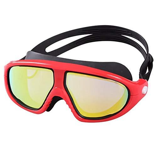 EARTHTYJ Occhiali da Nuoto HD Placcatura Anti-Fog Anti-UV Specchietto da Cintura Specchio Addensato Occhialoni Colorati Occhiali in Gel Piatto Luce Piatta Occhiali Sportivi
