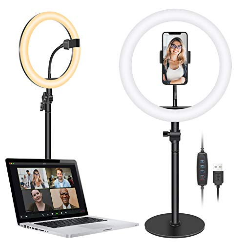 Neewer Table Top 10-inch USB LED Ring Light, Video Conference Lighting for Zoom Call Meeting/Remote Working/Self Broadcast/YouTube/TikTok/Live Stream, 3200K-5600K/3 Light Modes/Phone Holder (Black)