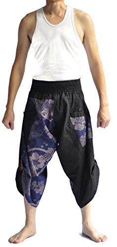 Siam Herren Hose im japanischen Stil, Einheitsgröße, Schwarz/Blau