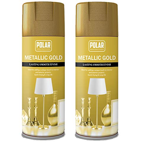 Polar Premium Gold Metallic Spray Paint for Multi-Purpose Use Spraying Metal and Wooden Furniture, Ornaments, Decorative Items and Much More, for Interior and Exterior Use - 400ml