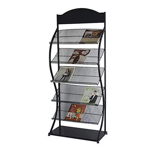 XMSIA Expositor portafolletos Revista Red de Metal, en el folleto Rack de 6 Capas 156x32x63cm documento Estante de exhibición de Piso Estante de exhibición (Color : Black, Size : 156x32x63cm)