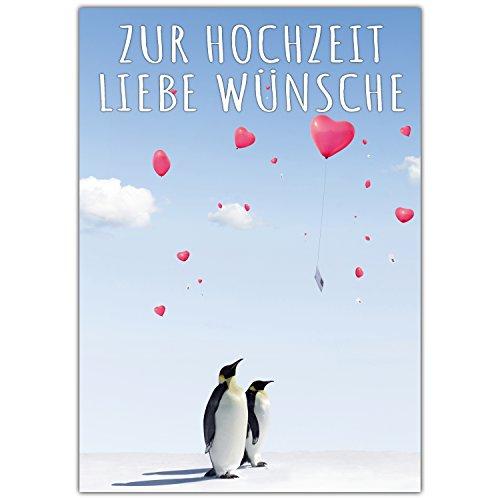 A4 XXL Hochzeitskarte PINGUINE mit Umschlag - edle Glückwunschkarte zum Aufklappen mit niedlichen Pinguinen zur Hochzeit - Maxikarte von BREITENWERK