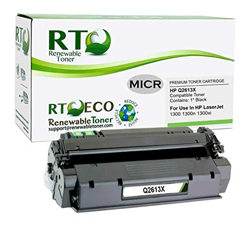 Renewable Toner Compatible MICR Cartridge High Yield Replacement for HP 13X Q2613X Laserjet 1300
