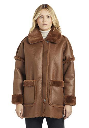 khujo Damen Jacke Kessia aus Lammfellimitat Winterjacke mit Metallreißverschluss