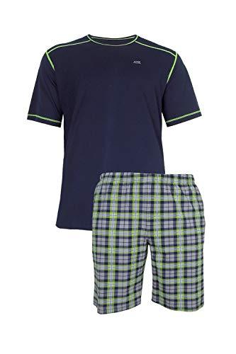 e.VIP® Carl S 885 - Pijama de algodón para hombre azul marino y verde a cuadros. XXX-Large