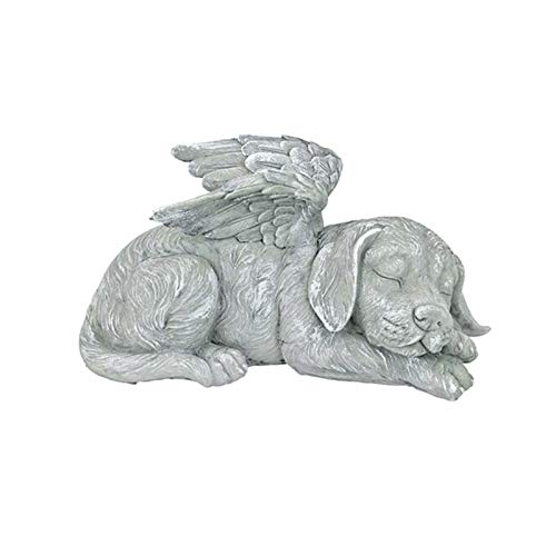 Fly-Dream Angel Pet Statue 1/2pcs Super Cute Sleeping Dog/Cat in Angel's Wing Resin Garden Ornament