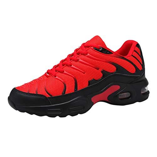 DAIFINEY Herren Mesh Turnschuhe Verschleißfest Straßenlaufschuhe Sportschuhe Laufschuhe Joggingschuhe Walkingschuhe Fitness Schuhe(1-Rot/Red,40) 46