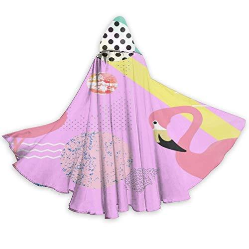 Dale Hill Patrón de flamencos (2) Capa de Halloween Capa con Capucha Elegante con cordón Traje de Bruja Fresca para Adultos Capa de Fiesta Extra Larga