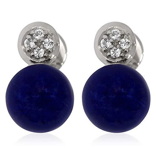 XEN Ohrstecker mit Lapis Lazuli und Weißtopas ca. 2,07 ct. rhodiniert