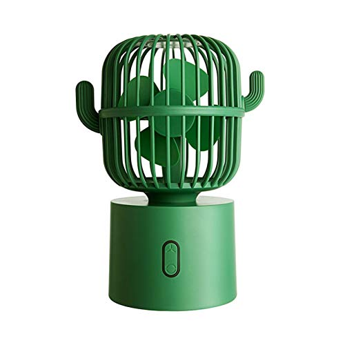 YDL Cactus Portátil Portátil Mini Ventilador USB Sacudida Cabeza Handheld Desk Fan Eléctrico (Color : Green)
