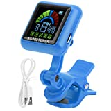 Eujgoov Aroma Guitar Clip‑on Tuner with the Attached USB Power Cord for Halftone/Guitar/Bass/Ukulele/Violin(AT-102BLUE)