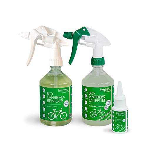 bio-chem Fahrrad-Reinigungsset 3-teilig - Pflegeset für alle Fahrräder, E-Bike & MTB - 1x Fahrradreiniger 500ml +1 x Antriebsentfetter 500ml + 1 x Antriebsöl 100 ml