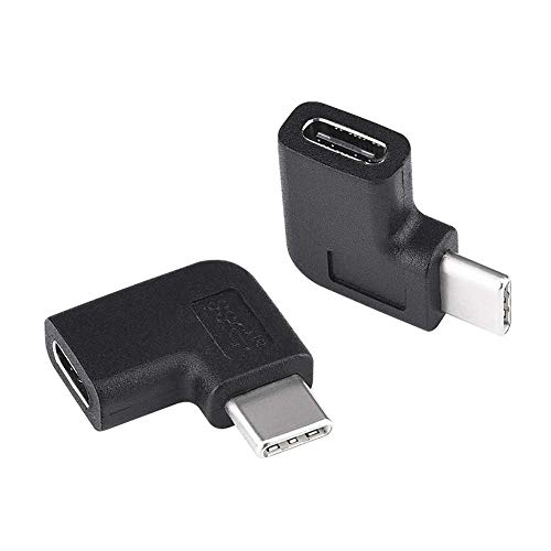 2-Pack USB-C 90 Degree Adapte, USB C Right Angle adapte,Type-C Male to Female Extension Adapter(3A) for MacBook Air /Pro, Dell XPS, Laptop & Tablet & Mobile Phone,Oculus Quest Link