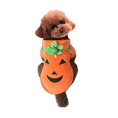 Mogoko Dog Cat Halloween Pumpkin Costume,Pet Cosplay Costumes,Puppy Warm Outfits Fleece Hoodie Animal Autumn Winter Clothes (S' Size)
