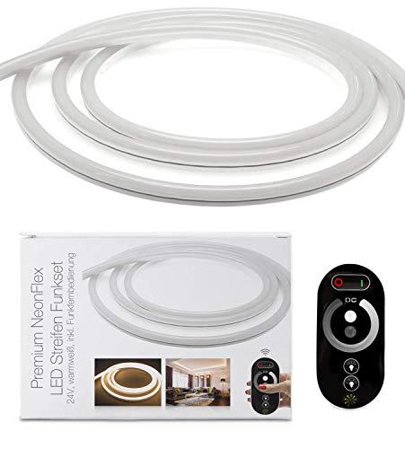 LED Uni versum Bande LED NeonFlex de qualité supérieure avec bloc d'alimentation, télécommande et contrôleur, IP65, 24 V, 9 W/m, 280 lm/m, pour l'intérieur et l'extérieur Blanc chaud 4 m