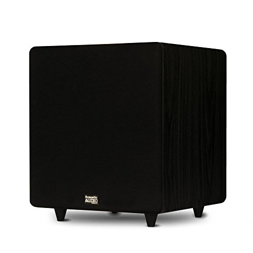 """Acoustic Audio PSW500-12 Home Theater Powered 12"""" LFE Subwoofer Black Front Firing Sub"""