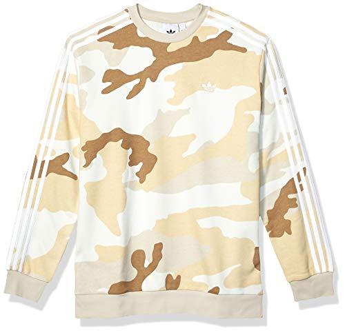 adidas Originals Men's Camo Crewneck Sweatshirt, multi/clear brown, Medium