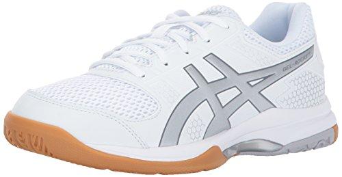 ASICS Women's Gel-Rocket 8 Volleyball Shoe, White/Silver/White, 5 Medium US