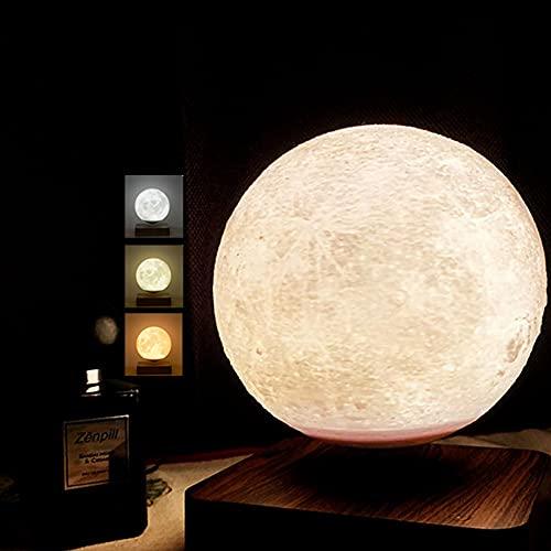 ZJING Lámpara De Luna Levitante, Lámpara De Luna Grande De 5.5 Pulgadas, Tiene 3 Modos De Colores (Júpiter/Mares/Luna) Flotando Y Girando En El Aire Libremente,Marrón