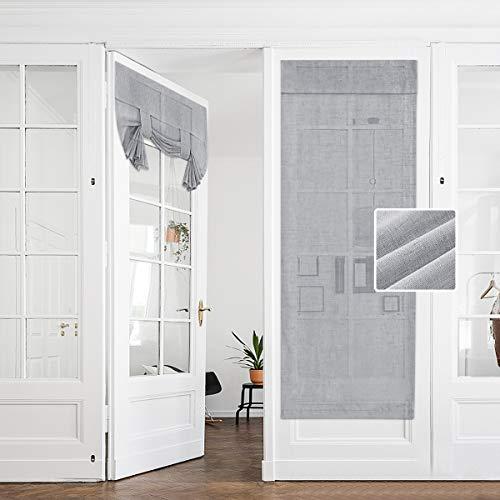 Hakuna Linen Semi Sheer French Door Curtains Light Grey 26 x 68 Inch, Light & Airy Sheer Door Panel Curtain for Privacy, Tie Up Shade for Front Back Door, Tricia Window, Patio Glass Door, 1 Panel