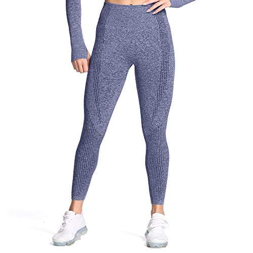 Aoxjox Women s High Waist Workout Gym Vital Seamless Leggings Yoga Pants (Dark Blue Marl, Medium)