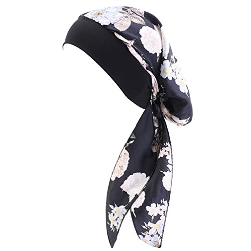 Cachecol de cabeça de turbante KesYOO de chiffon elástico longo de cauda longa para cabelo Hijab para festas e meninas cinza, Preto, 58x100x0.2cm