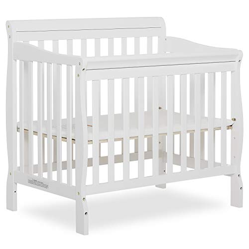 Dream On Me Aden 4-in-1 Convertible Mini Crib in White, Greenguard Gold Certified